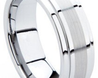 Mens Tungsten Ring With Beveled Edges and Brushed Line