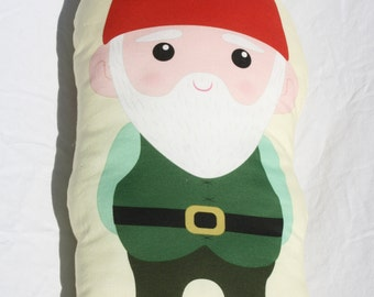 Gnome Woodland Nursery Pillow - Gneville the Gnome - Large Woodland Critter Soft Toy Pillow