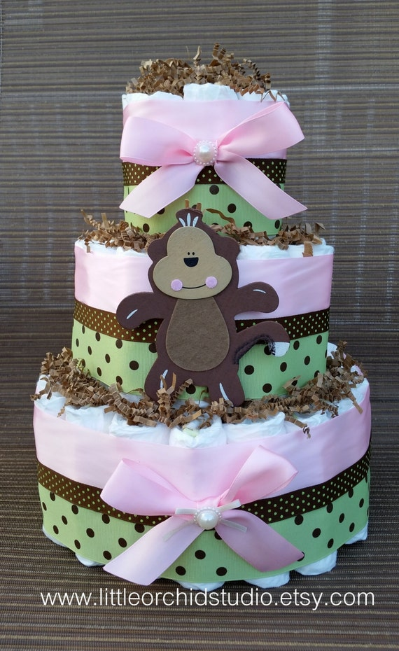 Items similar to safari jungle theme baby shower monkey baby shower diaper cake for girls baby - Baby shower monkey decorations for a girl ...