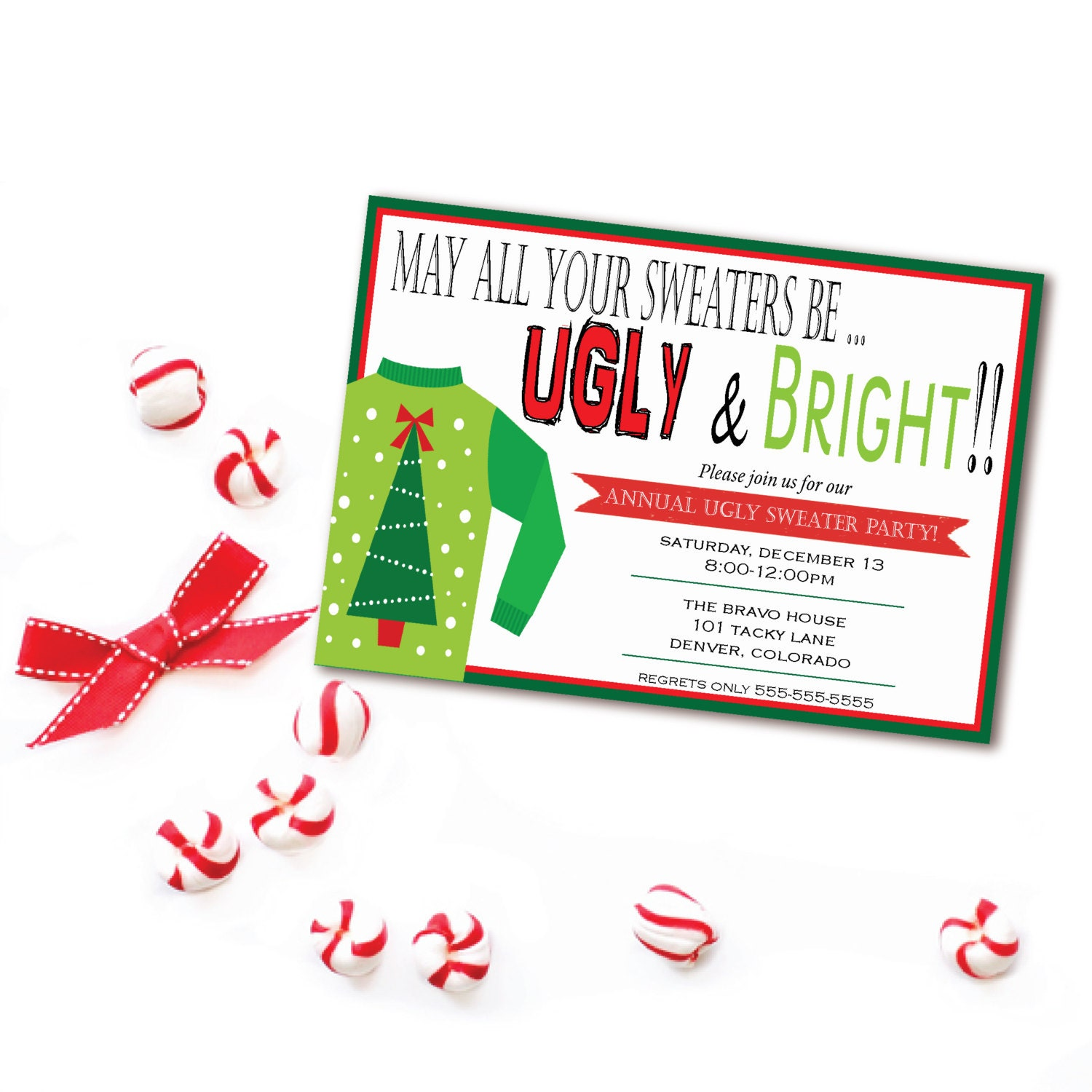Ugly Sweater Christmas Party Invitation May All Your