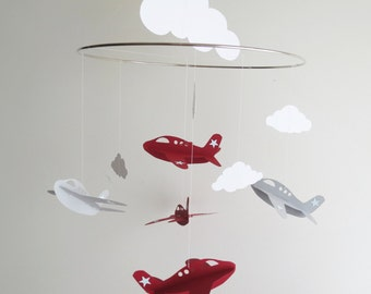 Airplane Mobile - Handmade Airplane and Cloud Nursery Mobile - Red and Grey Airplanes - Boys Hanging Mobile - Choose Your Colors