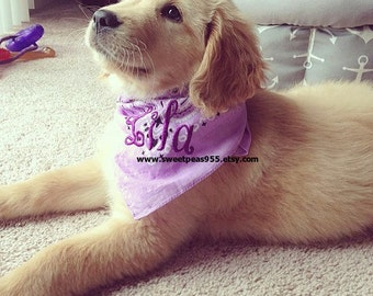 Dog Bandana, Dog Collar, Puppy Bandana. Personalized Dog Gift, Name Collar,