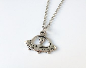 alien necklace,spaceship necklace,i want to believe,bohemian jewelry