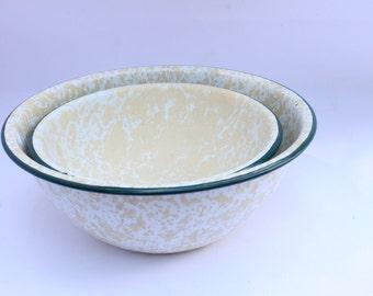 Two enamel bowls