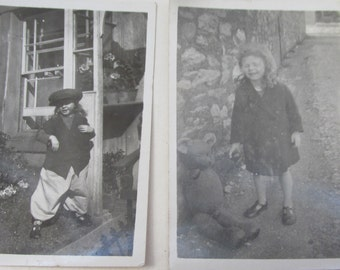 Two Small Vintage 1940s Black and White Photographs of a Playful Little Girl