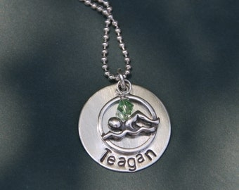 Hand Stamped Sterling Silver Swimmer Necklace, swimmer jewelry, swimmer necklace, personalized swimmer necklace