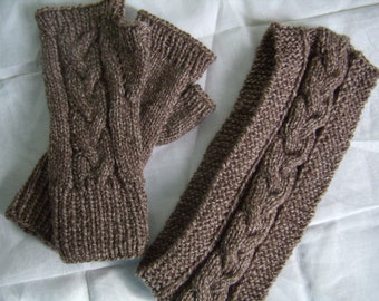 Fingerless mitts and cache ears, twists, knitted hand Warmers for man