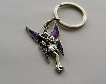 Mystical Fairy Keychain, Purple Winged Fairy Keychain, Fairy Tale Keychain, Fantasy Keychain, Fairy Zipper Pull, Purple Fairy Purse Accent