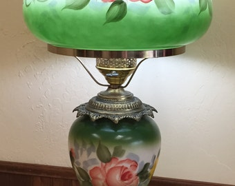 GWTW Parlor Victorian Style Lamp Hand Painted Flowers 3 Way Gone with the Wind
