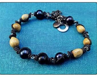 Black Pearl, Seed & Hemp Bracelet