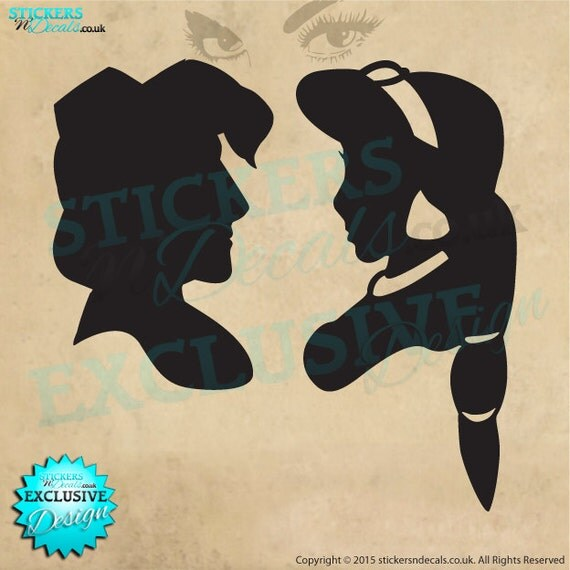 Disney aladdin jasmine silhouette vinyl wall art wall decal for Aladdin and jasmine on carpet silhouette