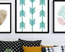 Printable Chevron Art, Chevron Aquamarine Print, Modern Turquoise Print, Chevron Turquoise Wall Print, Aquamarine Decor, Turquoise and Gold
