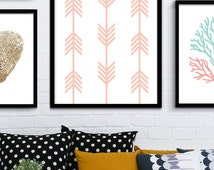 Printable Coral Line Art Print, Coral Chevron Prints, Chevron Wall Art, Coral Wall Prints, Chevron Printable Art, Coral Geometric Art