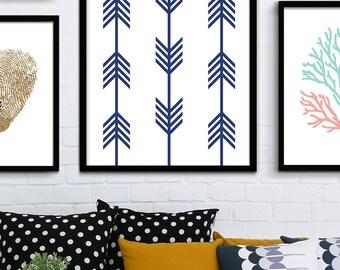 Navy Blue Arrow Printable Art, Dark Blue Chevron Printable, Line Art Poster, Chevron Decor, Navy Blue Nursery Decor, Chevron Arrow Prints