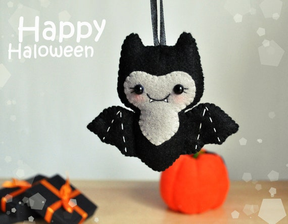 Cute halloween ornament felt bat decor halloween by for Cute halloween decorations to make at home