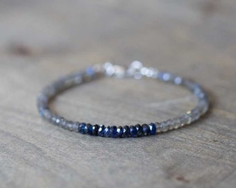 Labradorite & Blue Kyanite Bracelet, Delicate Multi Gemstone Stacking Bracelet, Labradorite Bracelet, Blue Kyanite Jewelry