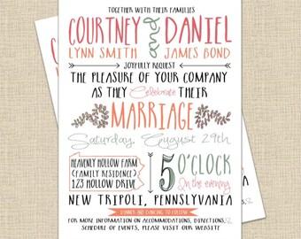 Printable DIY Modern Rustic Collection Custom Wedding Invitation Template