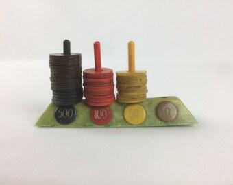 Bakelite Game Chips with Holder