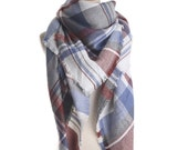 FLASH SALE! - Fast Shipping! Adorable Multi-Colored Gray and Periwinkle Tartan Plaid Blanket Scarf - a New Fall Favorite!