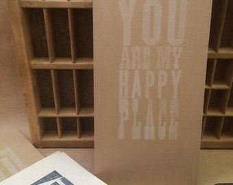 6x13 Letterpress Print - Happy Place - White on Heavy Kraft Paper
