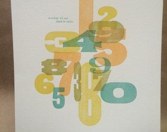 9x12 Letterpress Print - Number My Days