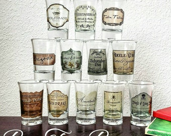 Potions Shot Glasses | Professor Snape | Potions | Harry Potter | Hogwarts | Witchcraft and Wizardry | Gifts for him | Gifts for her