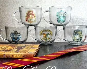 Hogwart House Glass Mugs | Harry Potter | Gryffindor | Slytherin | Hufflepuff | Ravenclaw | Gifts for him | Gifts for her | Vintage