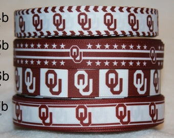 "Oklahoma Sooners inspired  college football 7/8"" grosgrain ribbon R78CF b"