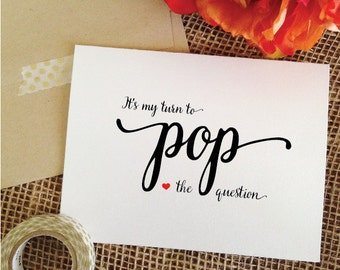 set of 6 - it's my turn to pop the question card  front and inside print