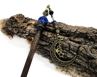 Wooden japanese hair stick - My moon and stars - chinese fine cut crystals - blue, black and yellow - kanzashi, hairpin, pin, hair chopstick