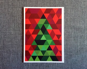 Mosaic Christmas Tree //  Single Card + Envelope or 8 Card Set // GC0145