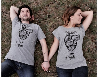 couples t-shirts, Mr and mrs matching shirts, boyfriend girlfriend , His and Hers, family t-shirts, anatomical heart, couple gift, steampunk