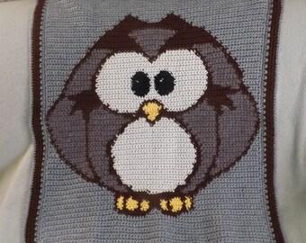 Wise owl crochet baby blanket