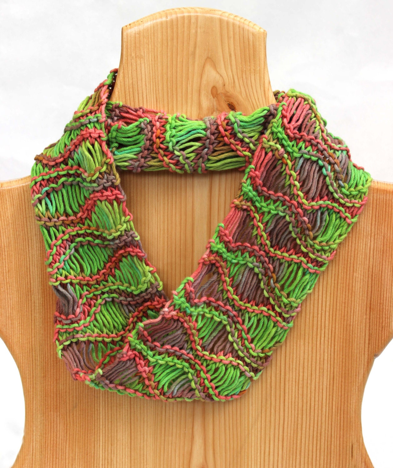 Lightweight Hand Knit Cowl Scarf Unique by KnitaBitofWhimsy