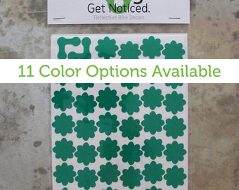Flower Power Velosight™ Reflective Bicycle Decals and Bike Helmet Stickers - 11 color options to match bike accessories