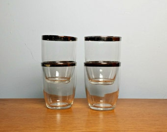 Dorothy Thorpe Glasses Silver Band Glasses Whiskey Glasses 1960s Mid Century Barware