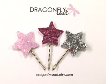 Glitter Star Pin // Set of 3