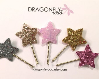Glitter Star Pin // Set of 5