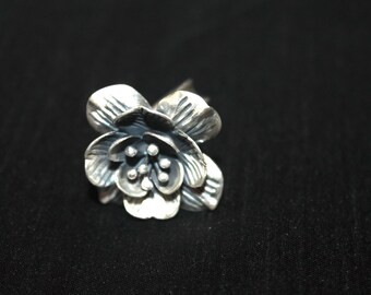 Sterling Silver - 3D Flower Ring
