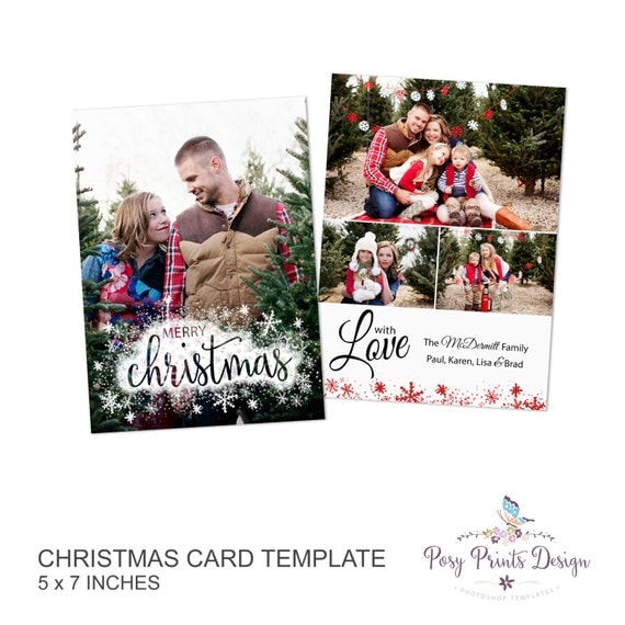 Christmas Card Template Merry & Bright 5x7 By PosyPrintsDesign