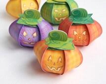 Pumpkin favor boxes (Printable) - 5 pumpkin gift boxes - centerpiece for a Halloween party, Jack O' Lantern -  DIY instant download