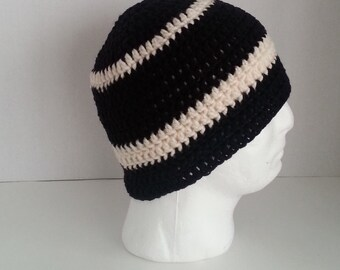 Mens Crochet Beanie, Men's Crochet Hat Two-Toned Black and Off White, Teen Boys Crochet Beanie Black and Off White, Mens Crochet Winter Hat