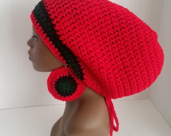 Crochet Tam with Drawstring and Earrings, Large Rasta Tam - Pan African Large Slouch Hat and Earrings, Red Mega Dreadlock Tam and Earrings