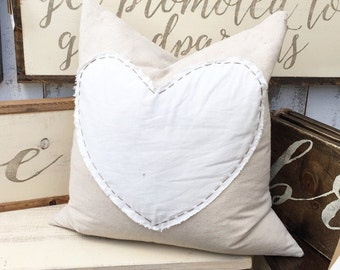 Hand-stitched Heart Pillow Cover