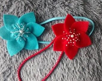 Felt Turquoise Headband / Flower Headband / Felt Accessories/ Handmade/ Only turquoise is available