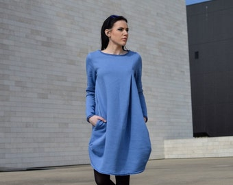 Blue dress // Maternity Deep Blue Cotton Dress // Long Sleeve Dress // Plus Size Dress // Shirt Dress //  Cozy // Warm // Heavy Duty
