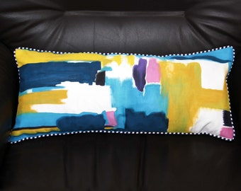 Artistic Color Splash Hand Painted Body Pillow Cover 10 x 22
