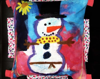 Cute Snowman Hand Painted Couch Cushion Cover