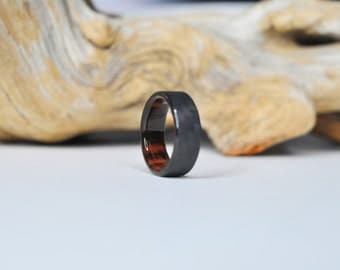 Carbon Fiber and Rosewood ring, Wood Wedding Band, Mens Ring, waterproof finish