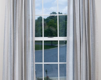 Sheer Drapery- Sheer Curtains, pick your tapper, Striped Sheer Curtains, Window Treatments, Pinch Pleat, Made-to-Order, Lined, Earthtones
